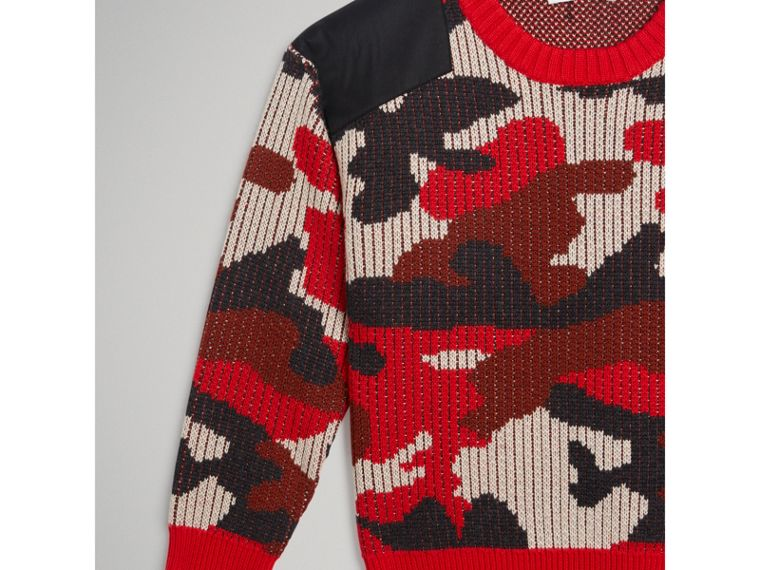 Camouflage Merino Wool Jacquard Sweater in Bright Red - Boy | Burberry - cell image 4