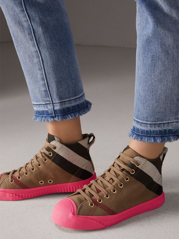 Canvas Check and Leather High-top Sneakers in Classic - Women | Burberry United Kingdom - cell image 2