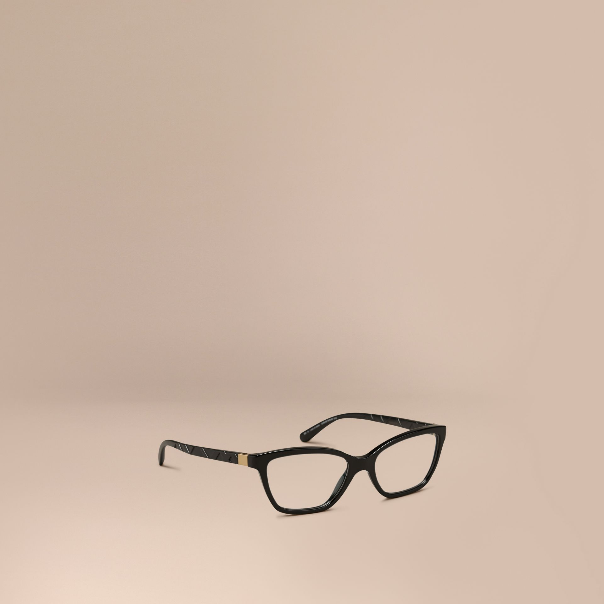Check Detail Cat-eye Optical Frames in Black - gallery image 1