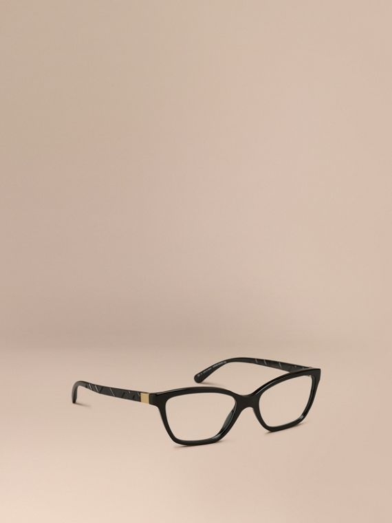 Check Detail Cat-eye Optical Frames Black