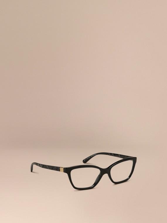 Monture œil de chat pour lunettes de vue à motif check Noir