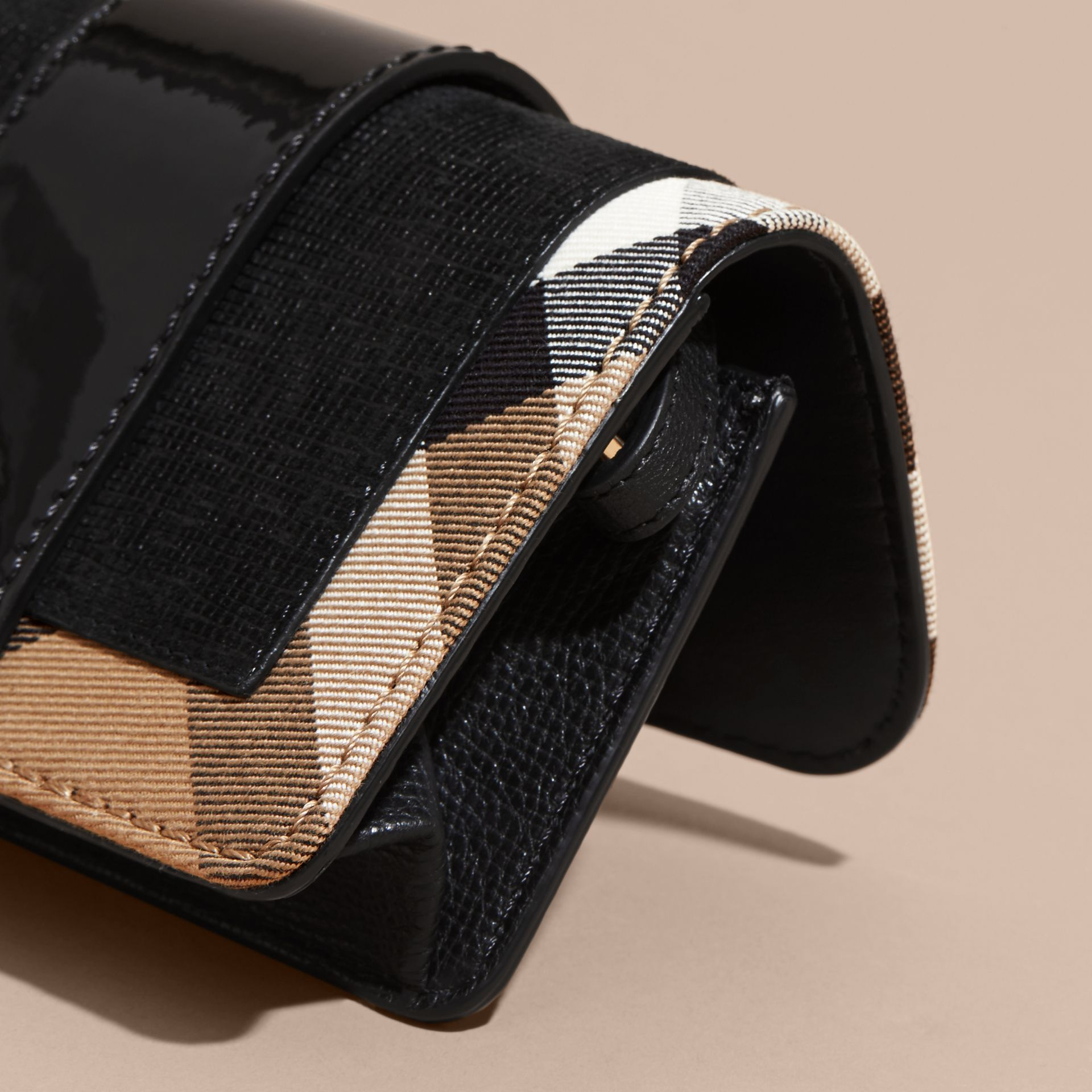 The Mini Buckle Bag in Leather and House Check Black - gallery image 7