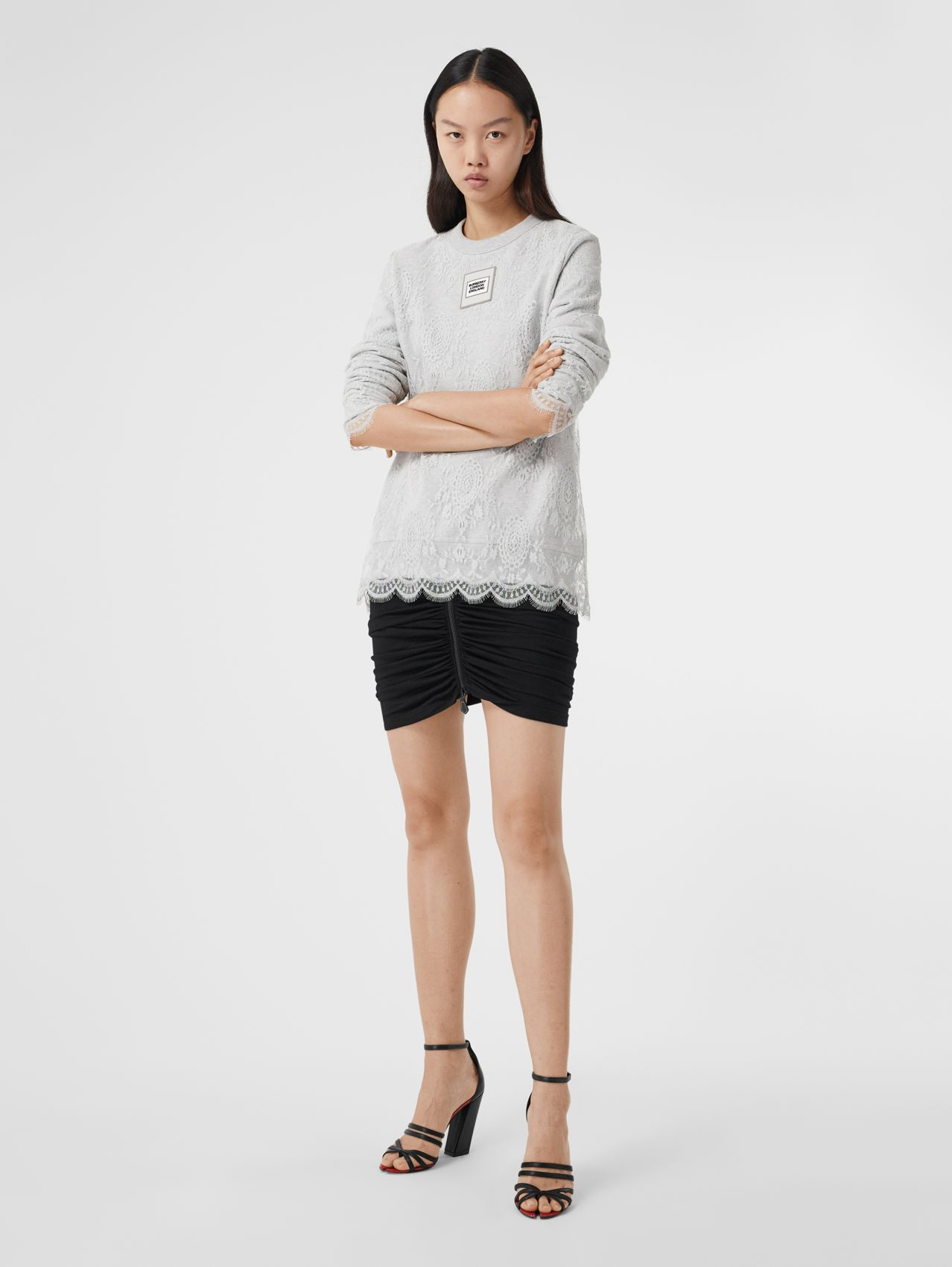 Logo Appliqué Lace Oversized Sweatshirt in Light Pebble Grey