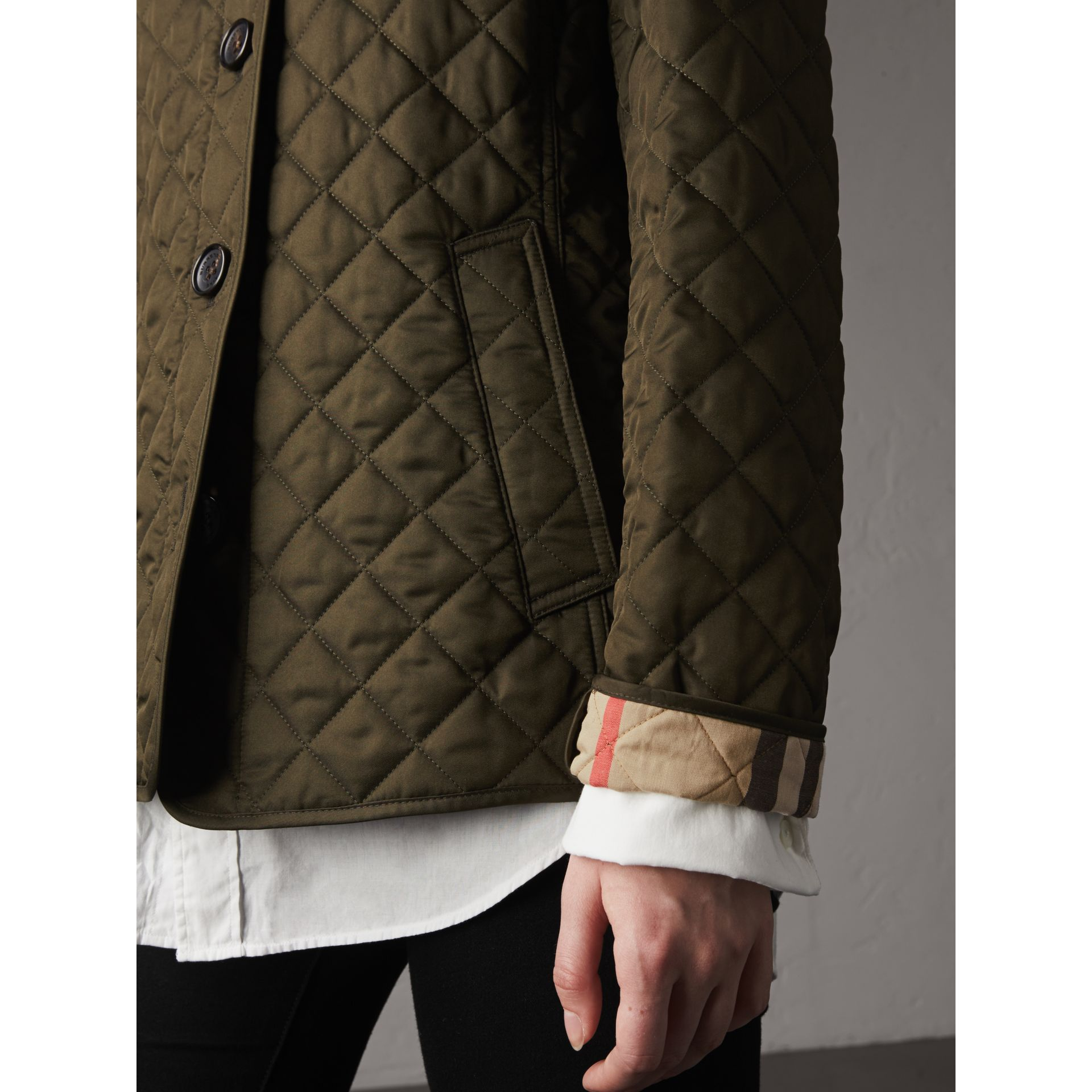 Diamond Quilted Jacket in Dark Olive - Women | Burberry Singapore - gallery image 5