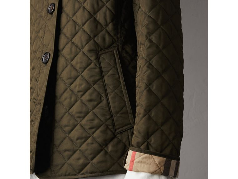Diamond Quilted Jacket in Dark Olive - Women | Burberry - cell image 4
