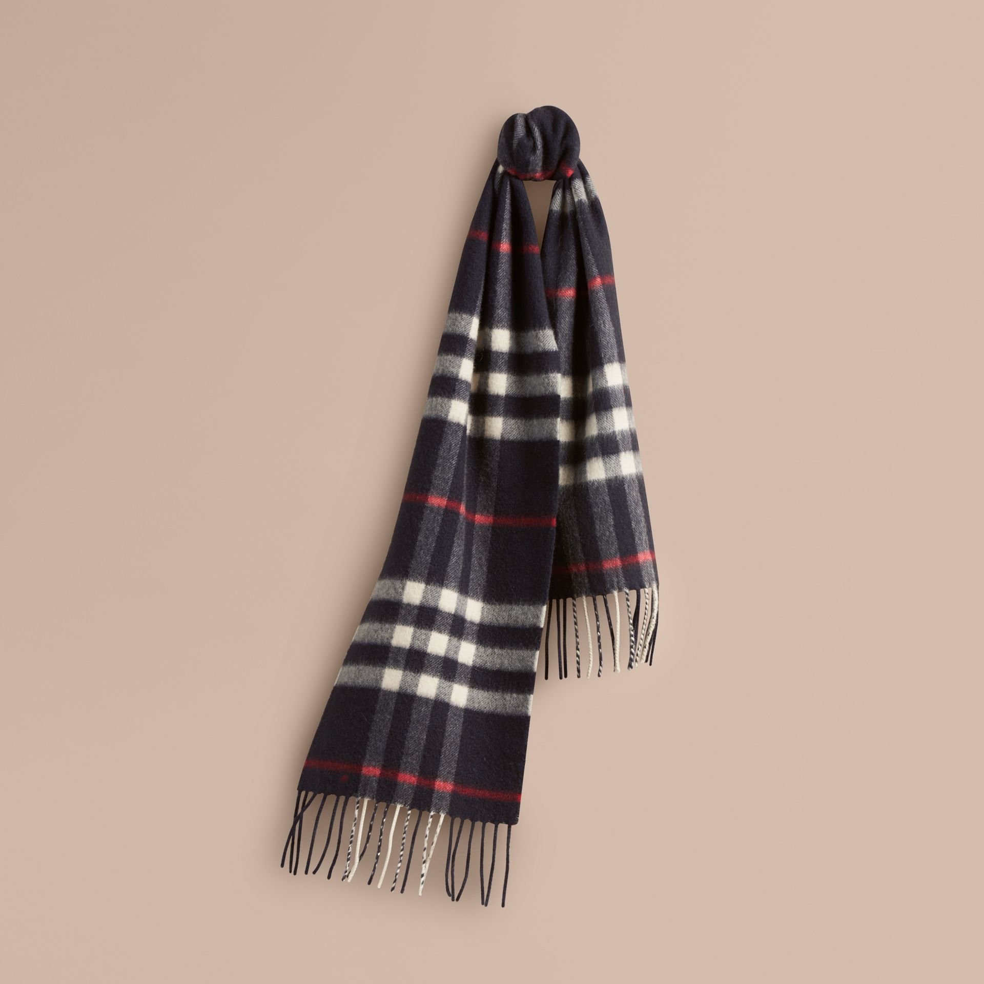 Navy The Mini Classic Cashmere Scarf in Check Navy - gallery image 5