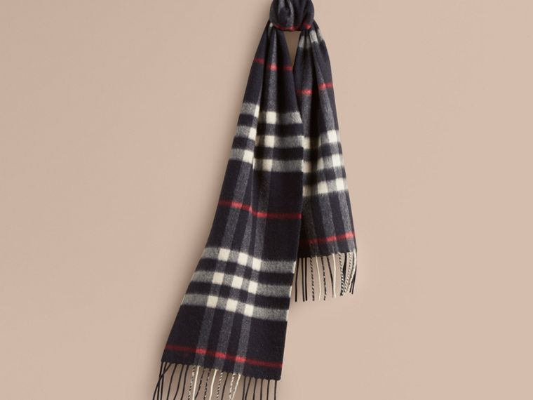 Navy The Mini Classic Cashmere Scarf in Check Navy - cell image 4