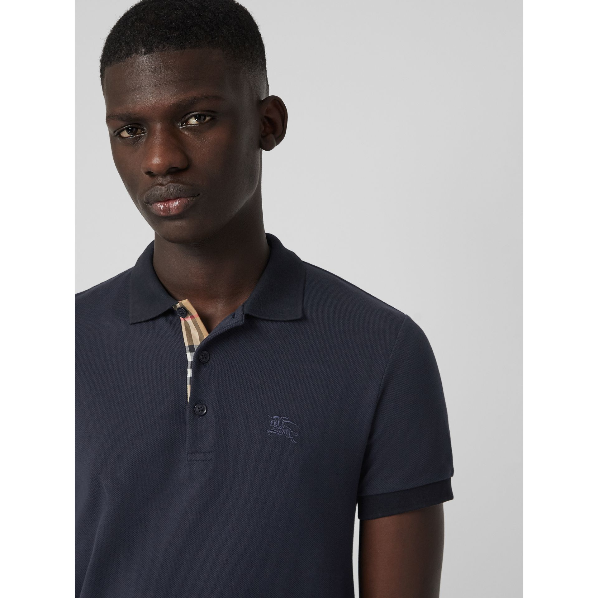 Check Placket Cotton Polo Shirt in Navy - Men | Burberry Canada - gallery image 1