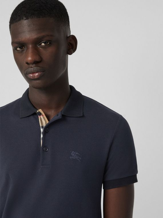 Check Placket Cotton Polo Shirt in Navy