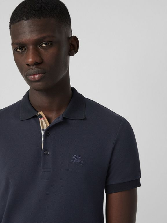 Check Placket Cotton Polo Shirt in Navy - Men | Burberry Australia - cell image 1