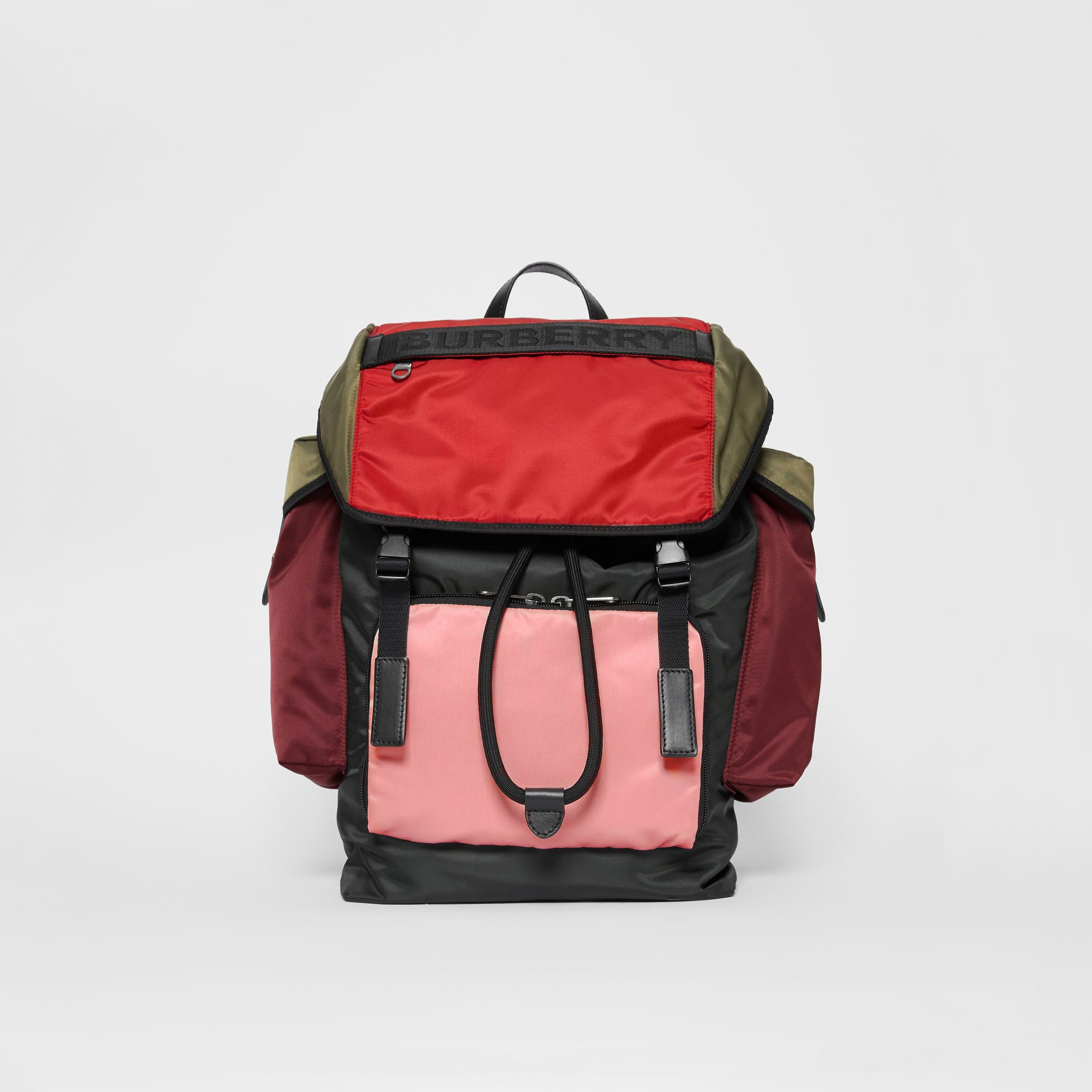 Large Leather Trim Colour Block Nylon Backpack in Multicolour | Burberry United Kingdom - gallery image 0