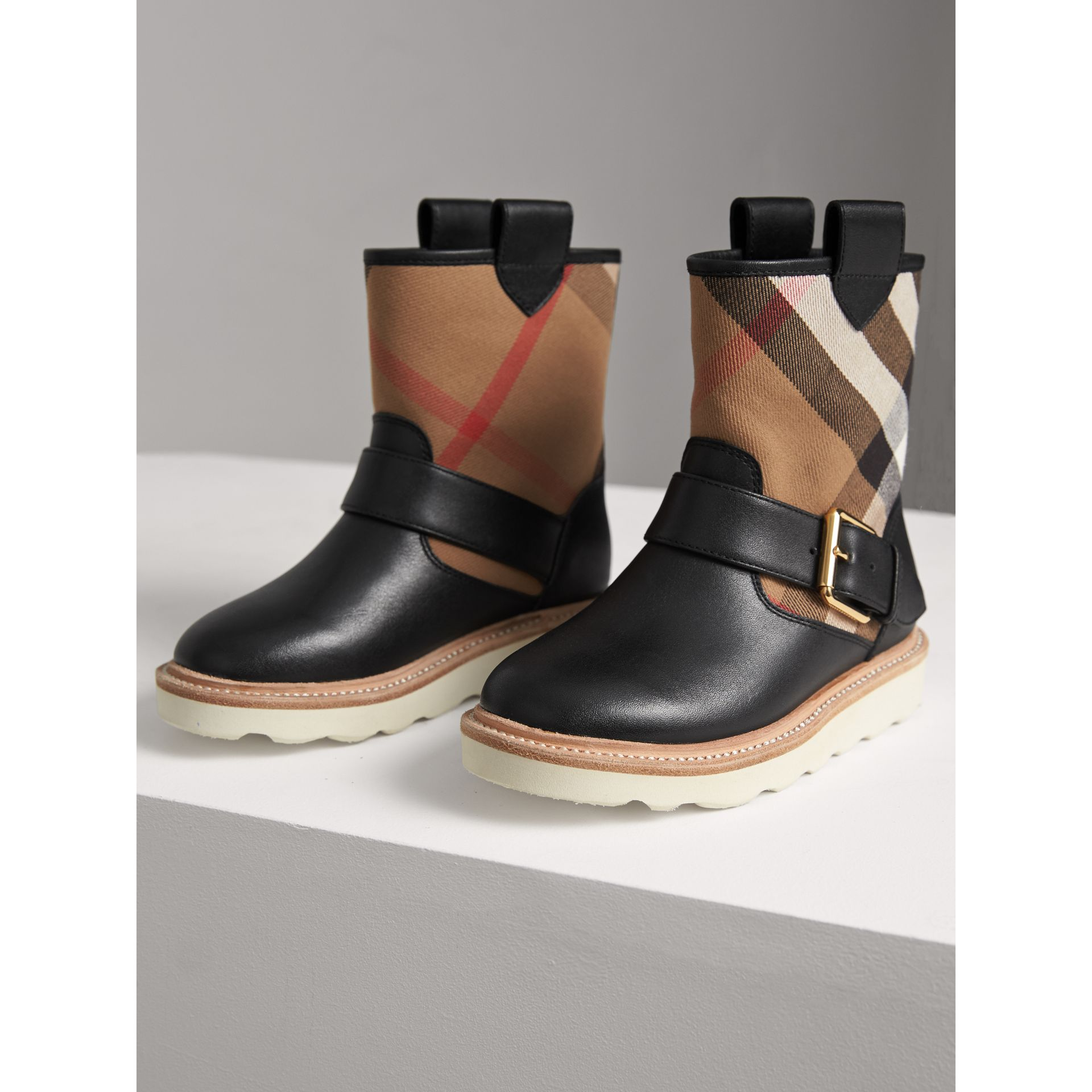 House Check and Leather Weather Boots in Classic | Burberry - gallery image 3
