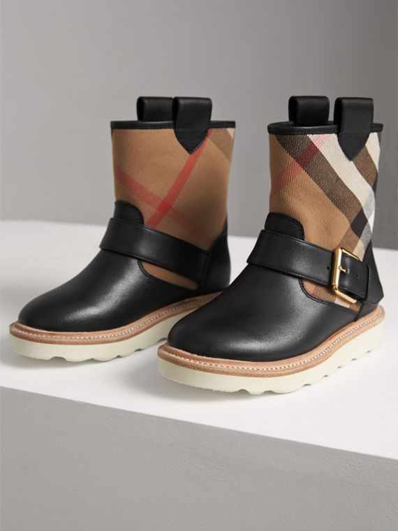 House Check and Leather Weather Boots in Classic | Burberry - cell image 3