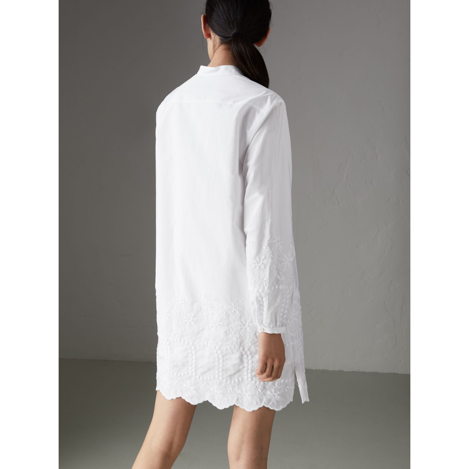 Embroidered Cotton Poplin Shirt Dress in White - Women | Burberry Australia - gallery image 2