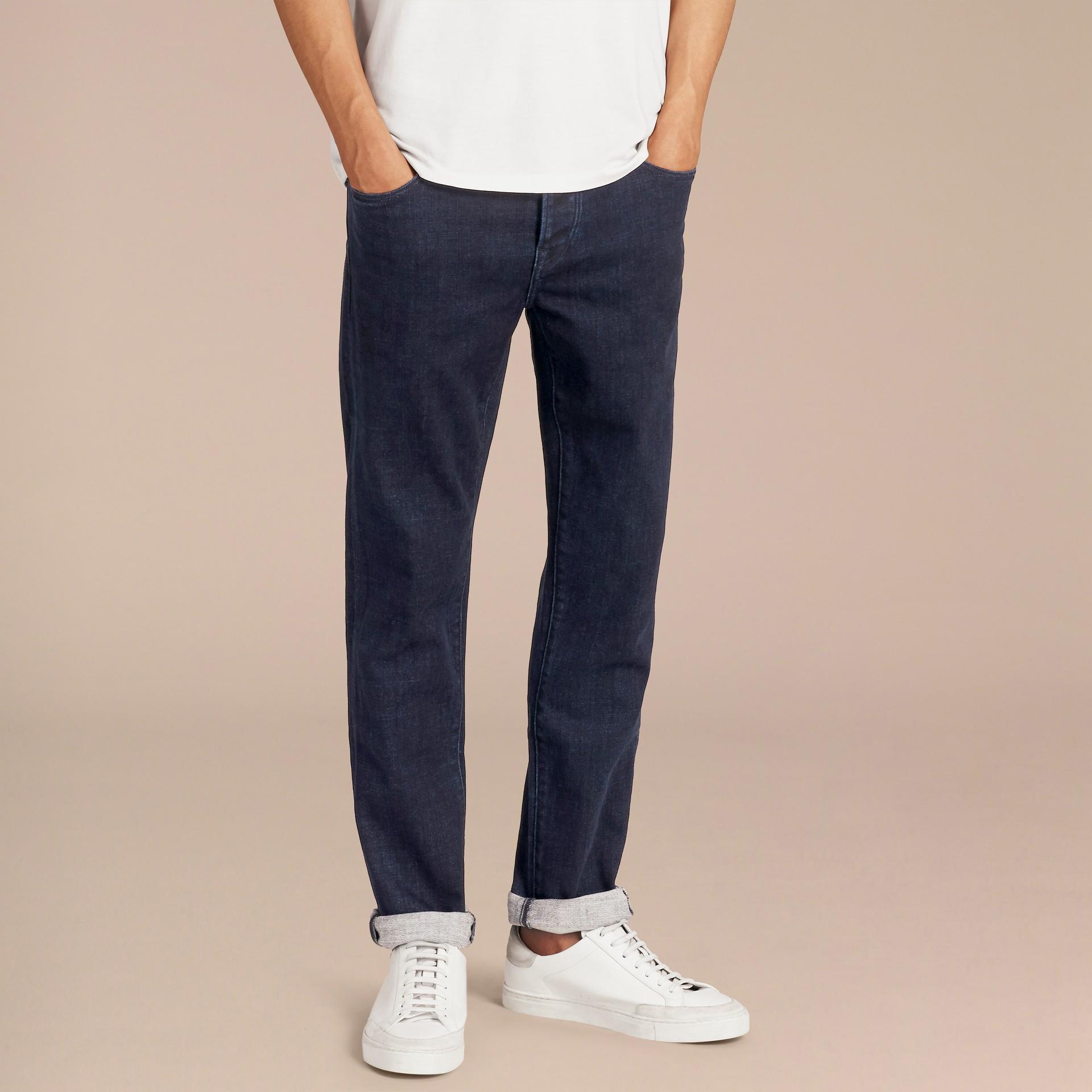 Dark indigo Straight Fit Indigo Stretch Denim Jeans - gallery image 7