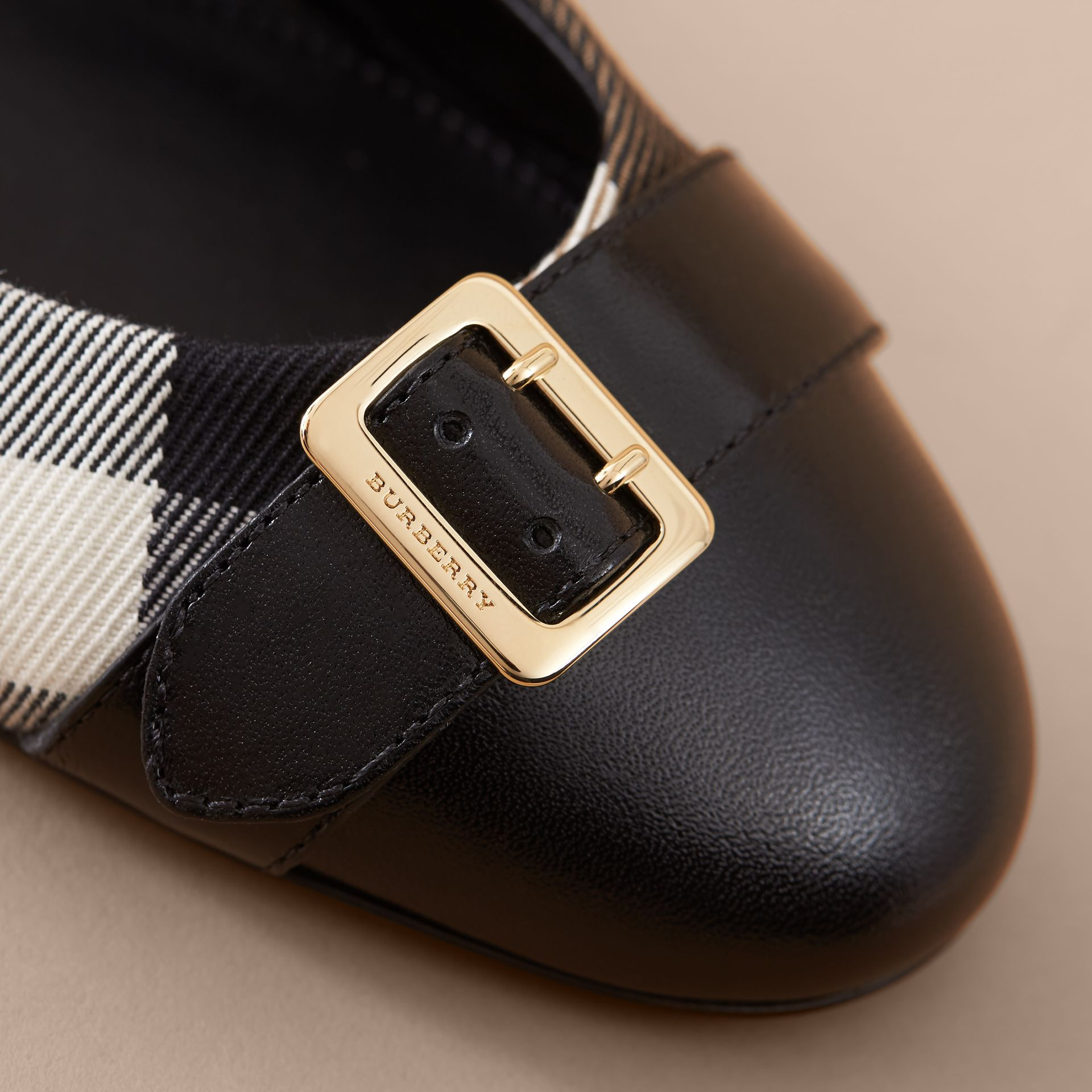 Buckle Detail House Check and Leather Ballerinas in Black - Women | Burberry - gallery image 2