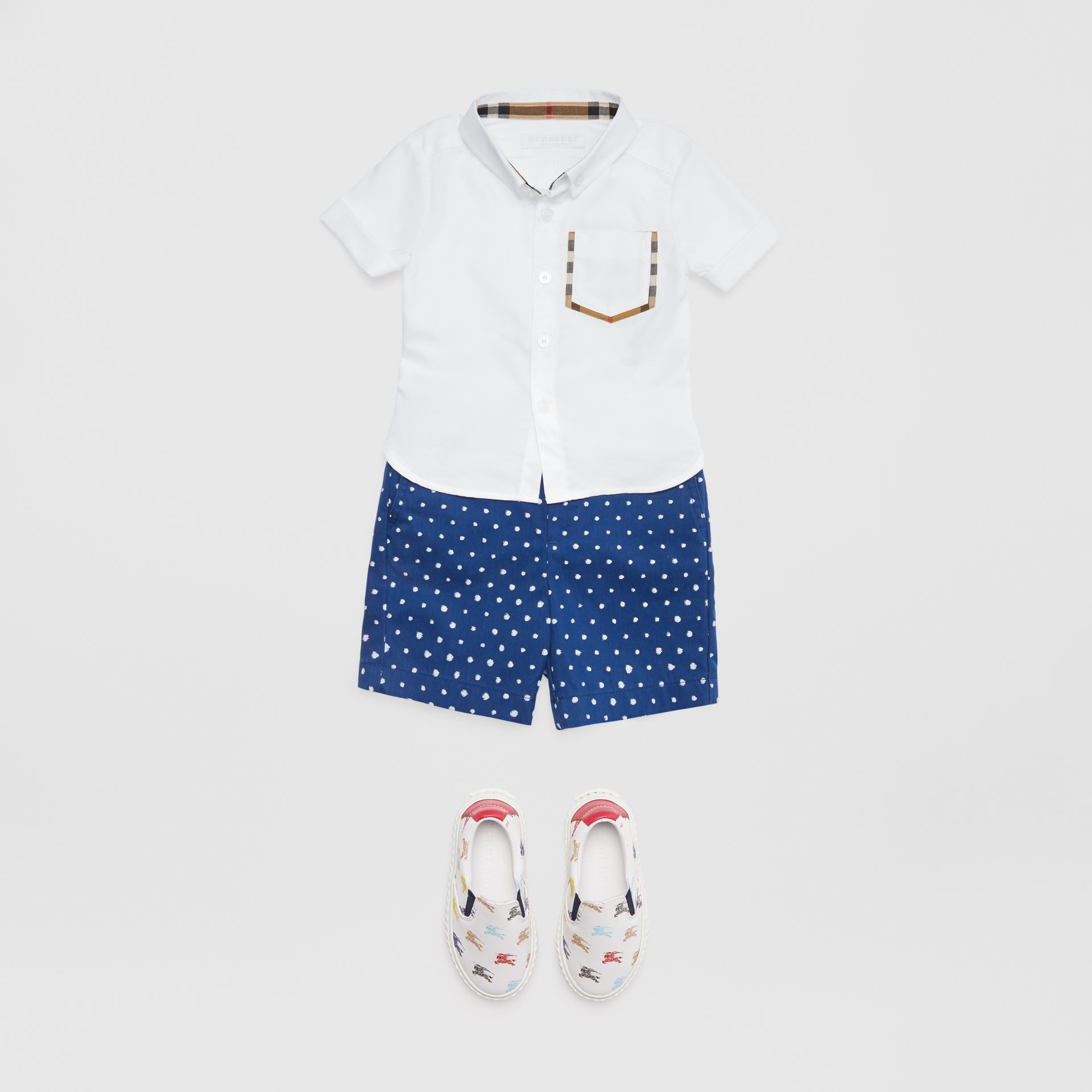 Short-sleeve Check Detail Cotton Oxford Shirt in White - Children | Burberry - gallery image 2