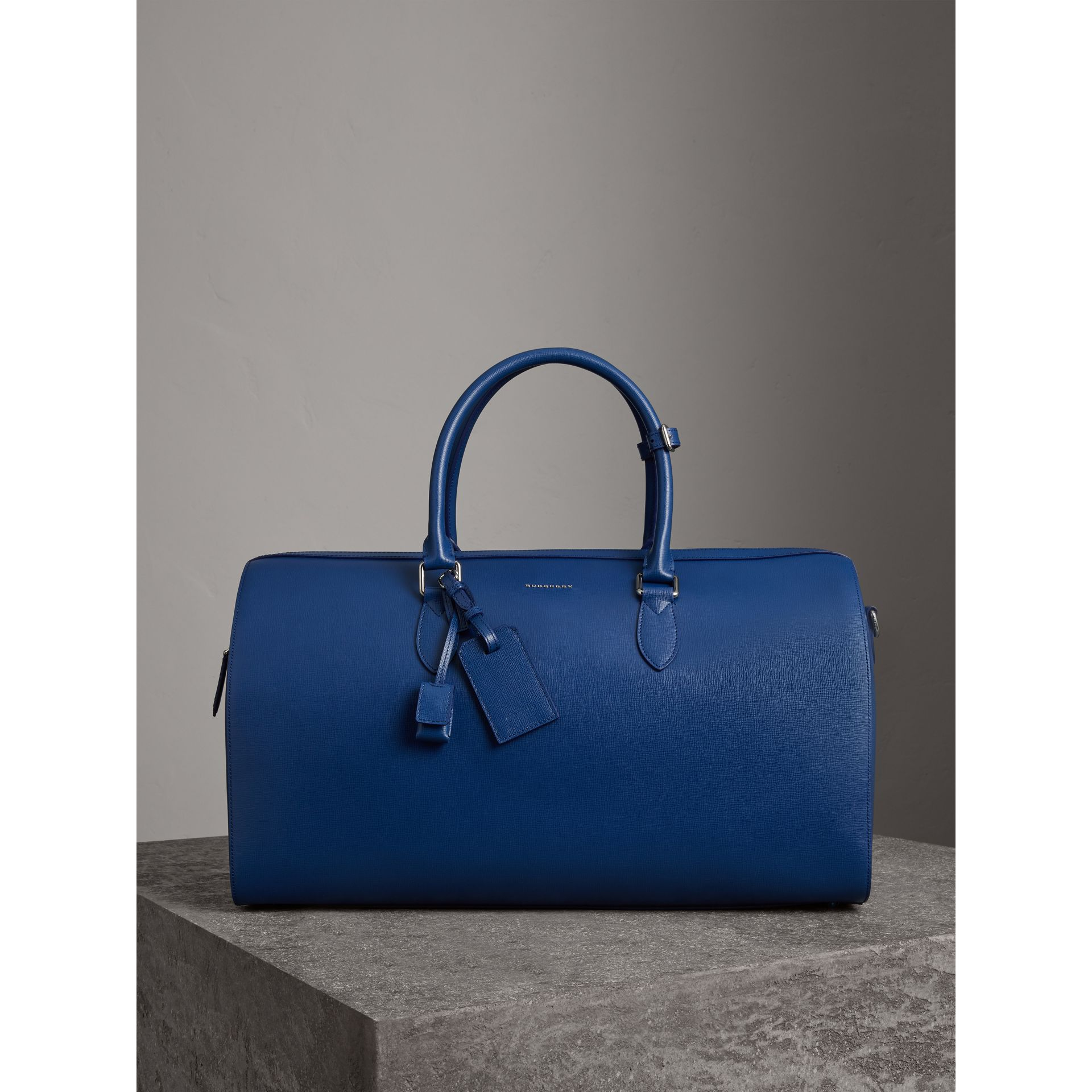 London Leather Holdall in Deep Blue - Men | Burberry - gallery image 1