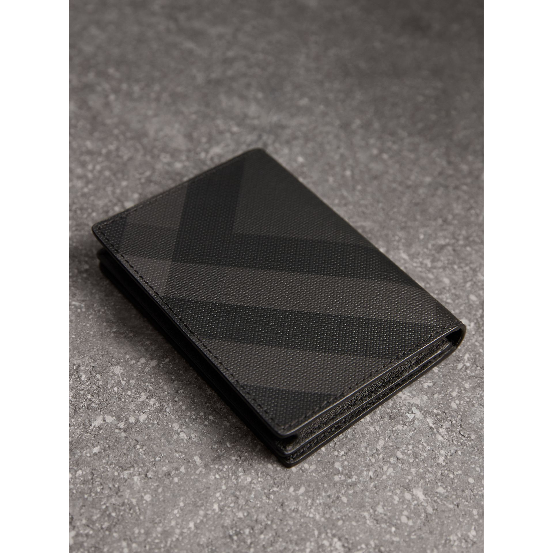 London Check and Leather Folding Card Case in Charcoal/black - Men | Burberry Canada - gallery image 2