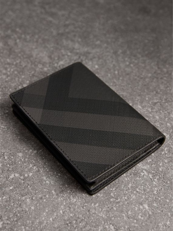 London Check and Leather Folding Card Case in Charcoal/black - Men | Burberry - cell image 2