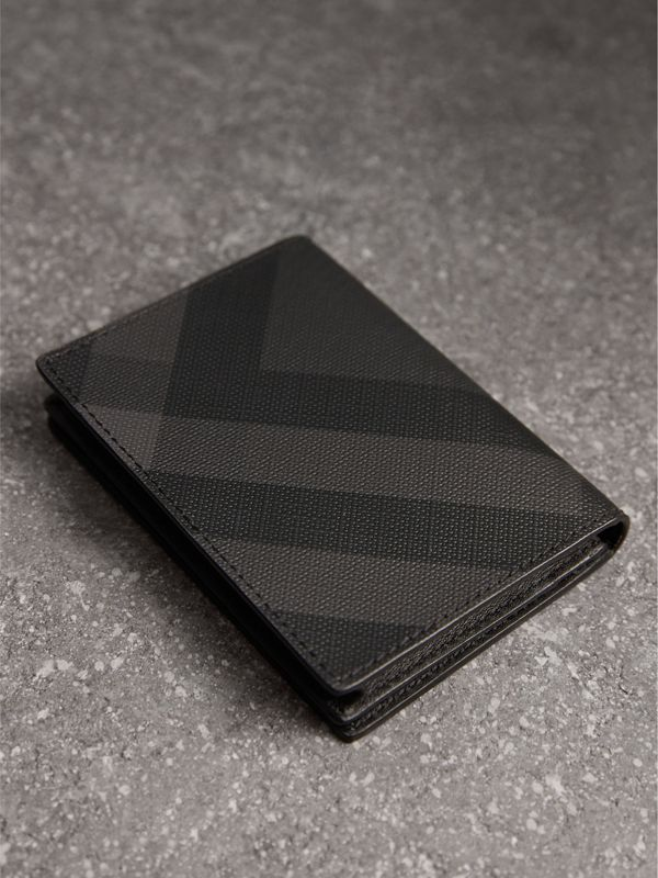 London Check and Leather Folding Card Case in Charcoal/black - Men | Burberry United Kingdom - cell image 2