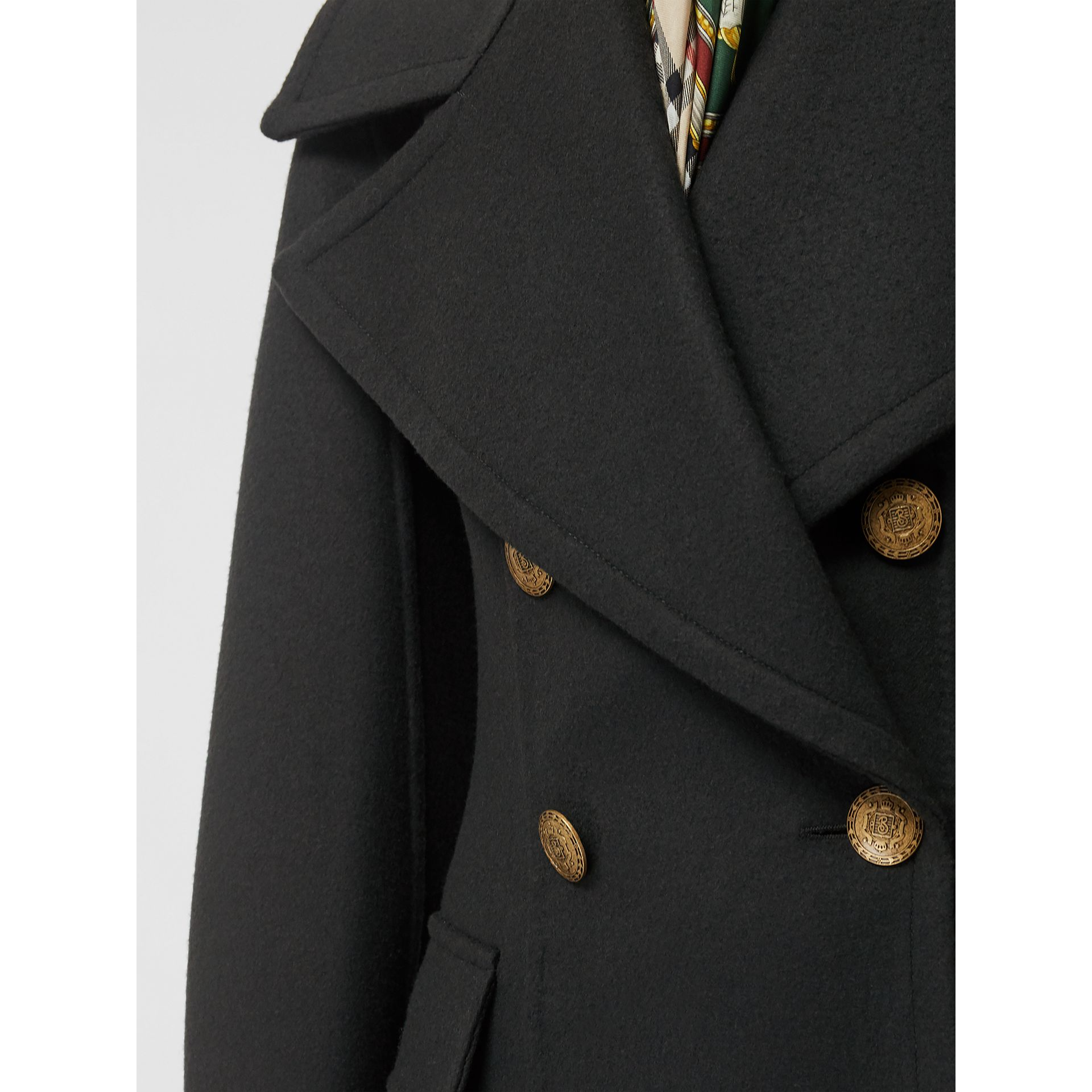 Doeskin Wool Tailored Coat in Dark Forest Green - Women | Burberry United Kingdom - gallery image 4