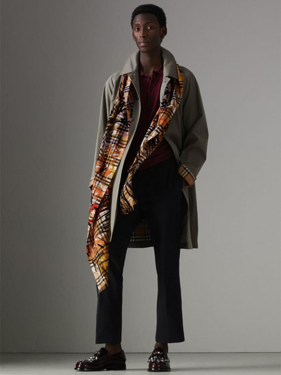 Graffiti Vintage Check Wool Silk Scarf in Antique Yellow | Burberry - cell image 3
