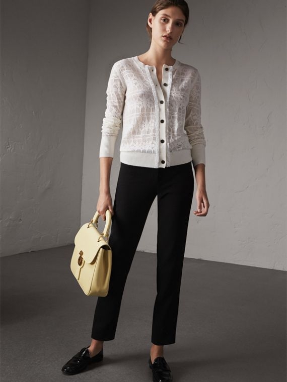 Lace Trim Knitted Wool and Cashmere Cardigan - Women | Burberry Singapore