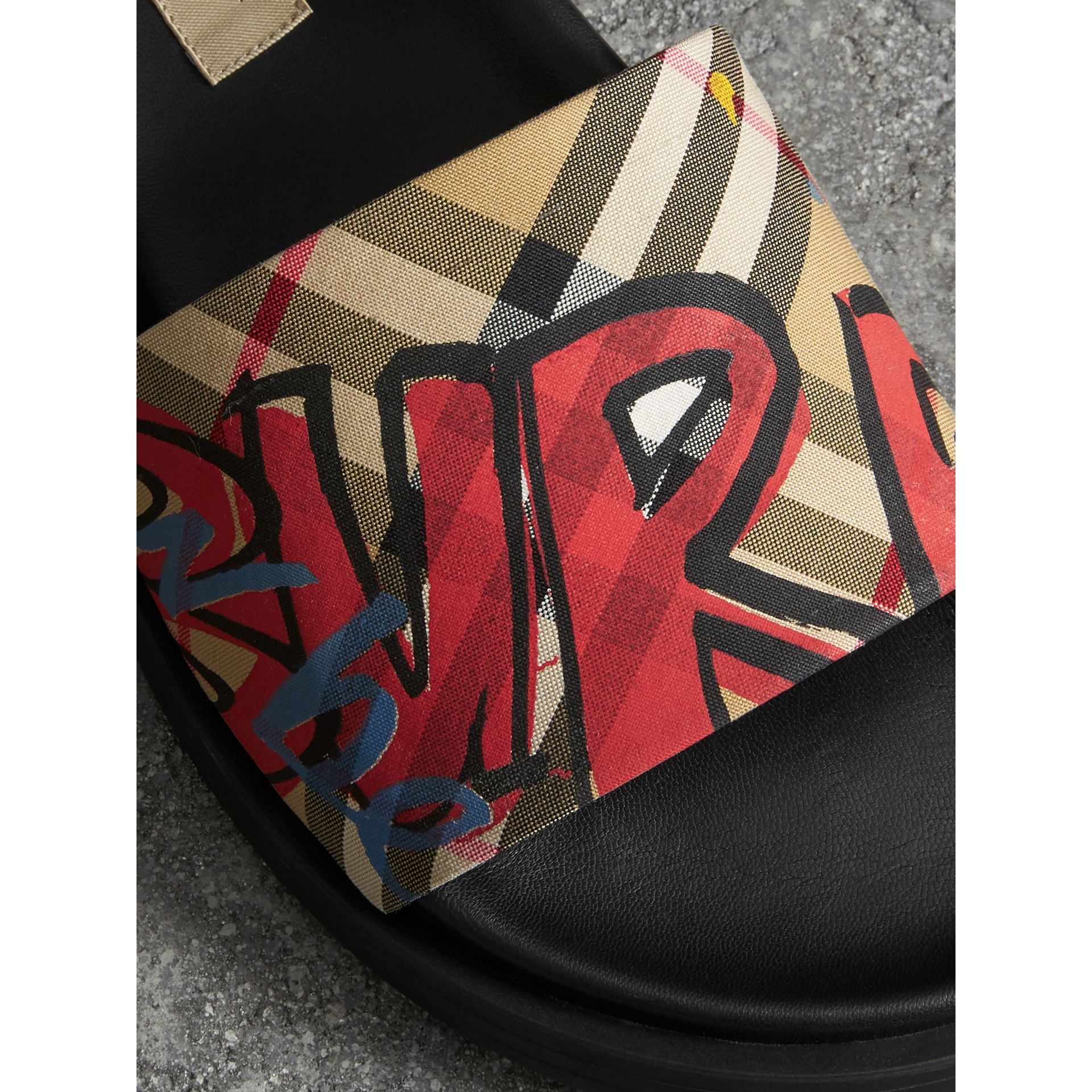 Graffiti Print Vintage Check and Leather Slides in Antique Yellow - Women | Burberry - gallery image 1