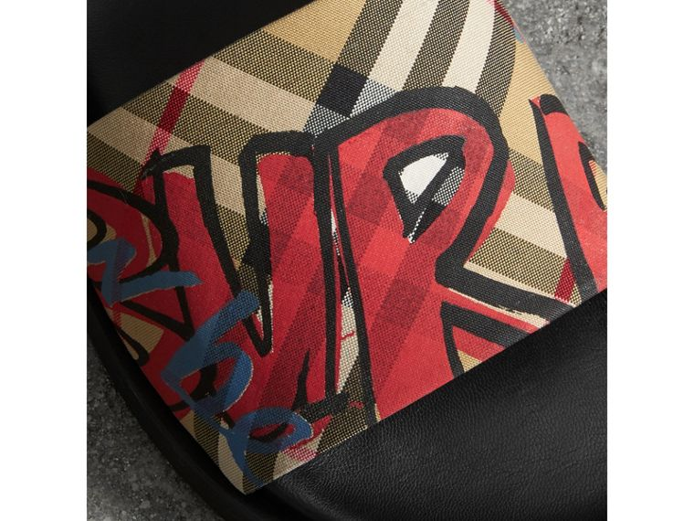Graffiti Print Vintage Check and Leather Slides in Antique Yellow - Women | Burberry - cell image 1