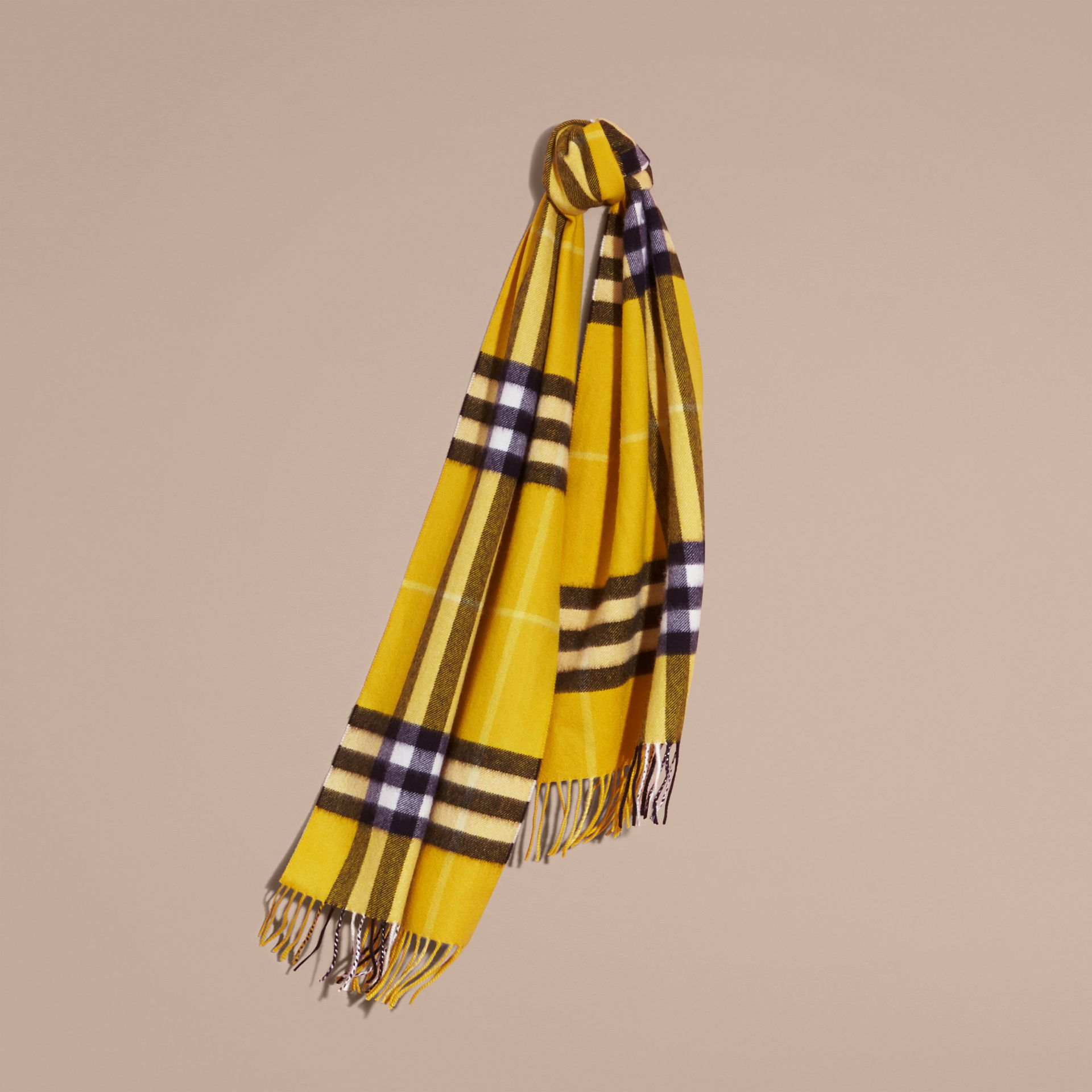 The Classic Cashmere Scarf in Check  Gorse Yellow - gallery image 6