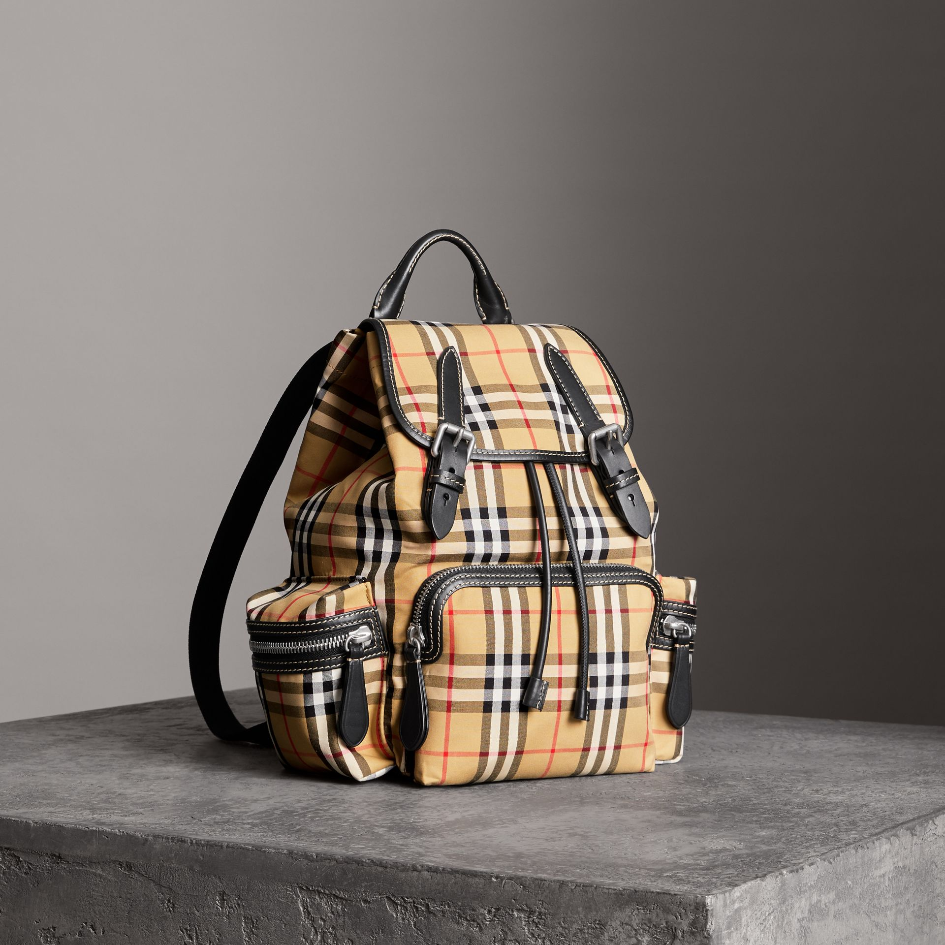The Medium Rucksack in Vintage Check Cotton Canvas in Antique Yellow - Women | Burberry Canada - gallery image 0