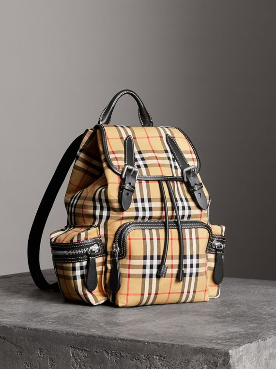 The Medium Rucksack in Vintage Check Cotton Canvas in Antique Yellow