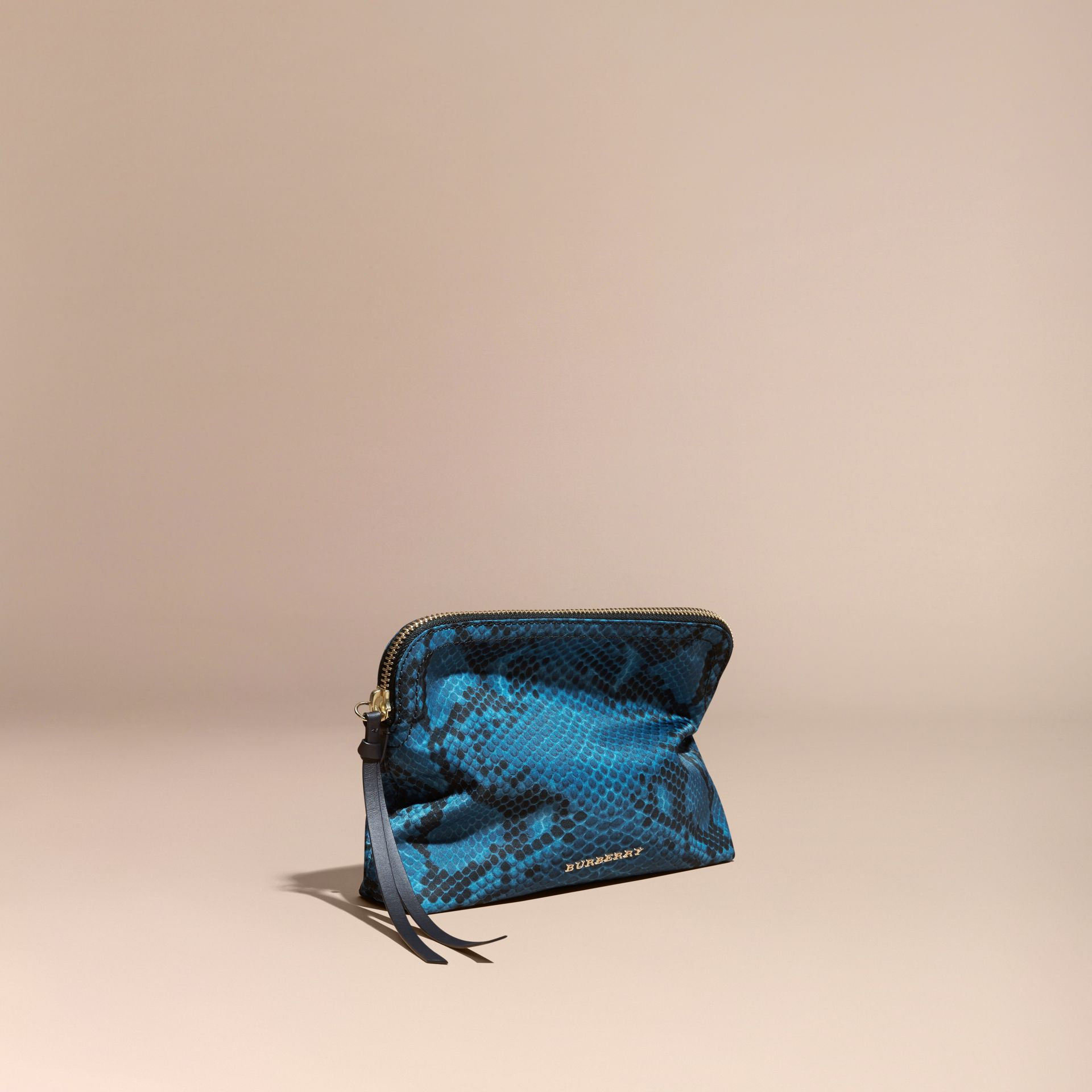 Large Zip-top Python-print Technical Nylon Pouch Mineral Blue - gallery image 1