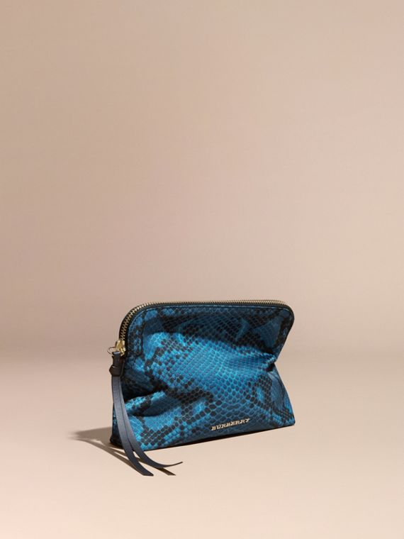Large Zip-top Python-print Technical Nylon Pouch in Mineral Blue