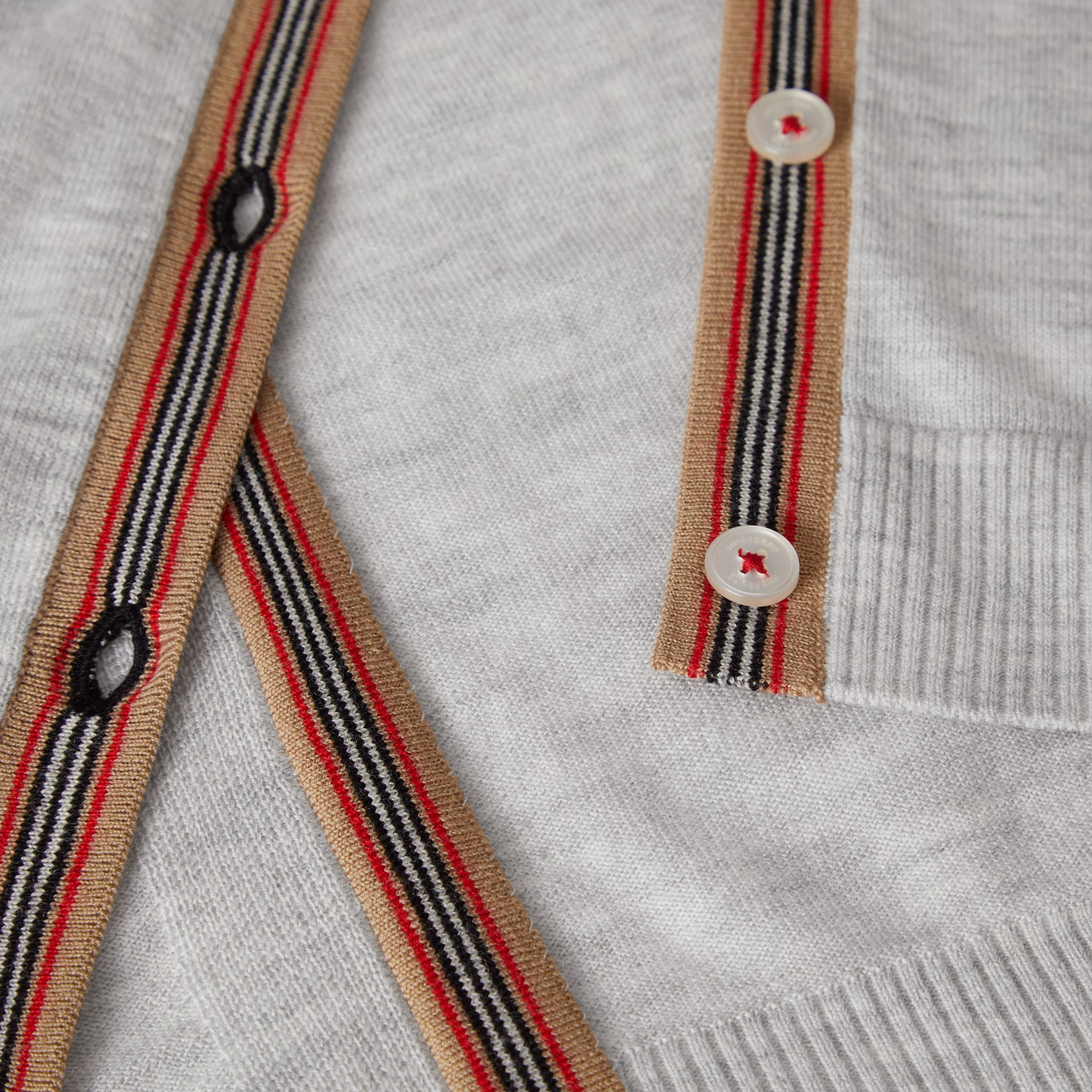 Icon Stripe Detail Merino Wool Cardigan in Light Grey Melange | Burberry Singapore - gallery image 1