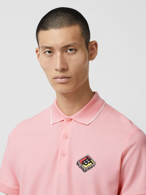 Logo Graphic Cotton Piqué Polo Shirt in Candy Pink - Men | Burberry - cell image 1