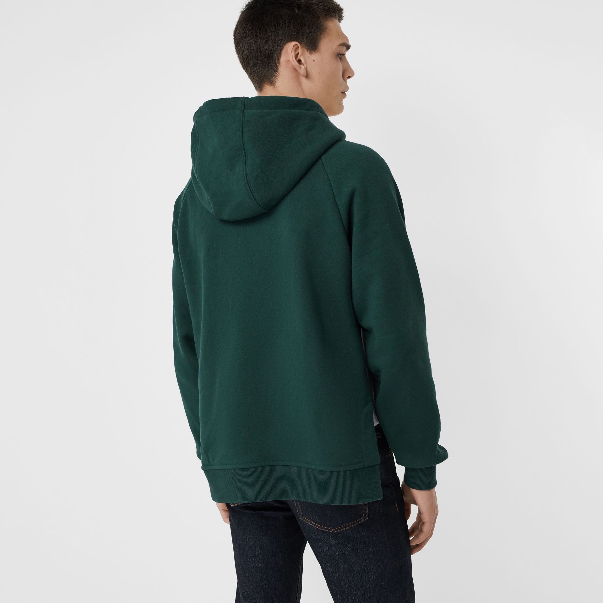 House Music Intarsia Jersey Hoodie in Forest Green - Men | Burberry Singapore - gallery image 2
