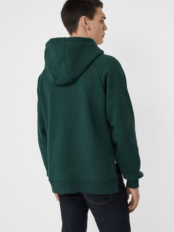 House Music Intarsia Jersey Hoodie in Forest Green - Men | Burberry - cell image 2