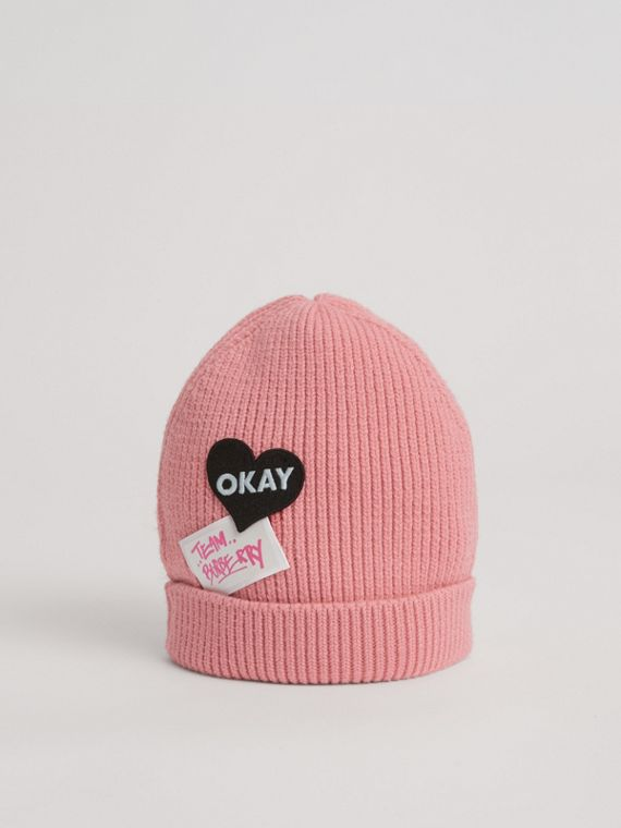 Patch Detail Merino Wool Beanie in Dusty Pink