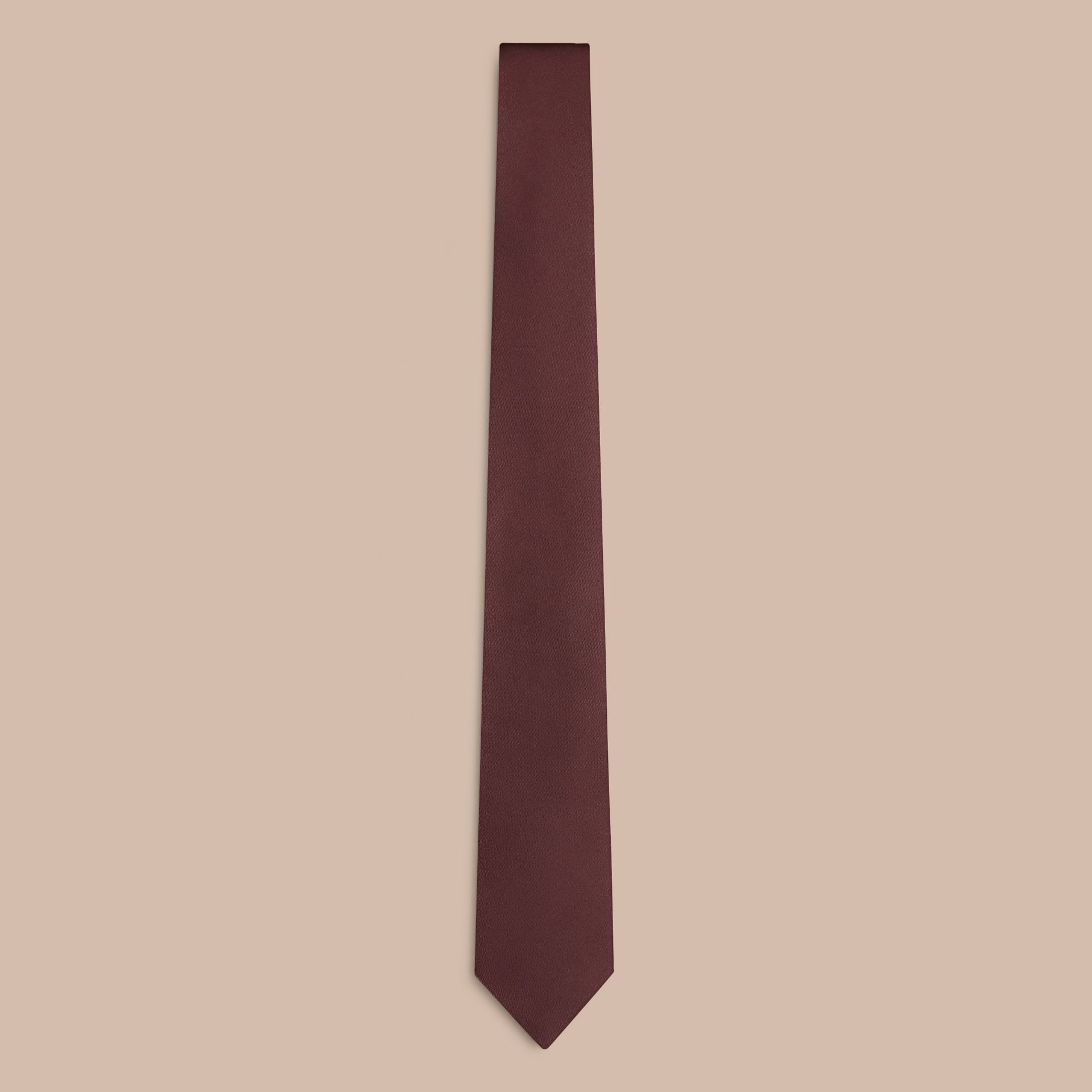 Dark burgundy Classic Cut Silk Tie - gallery image 1