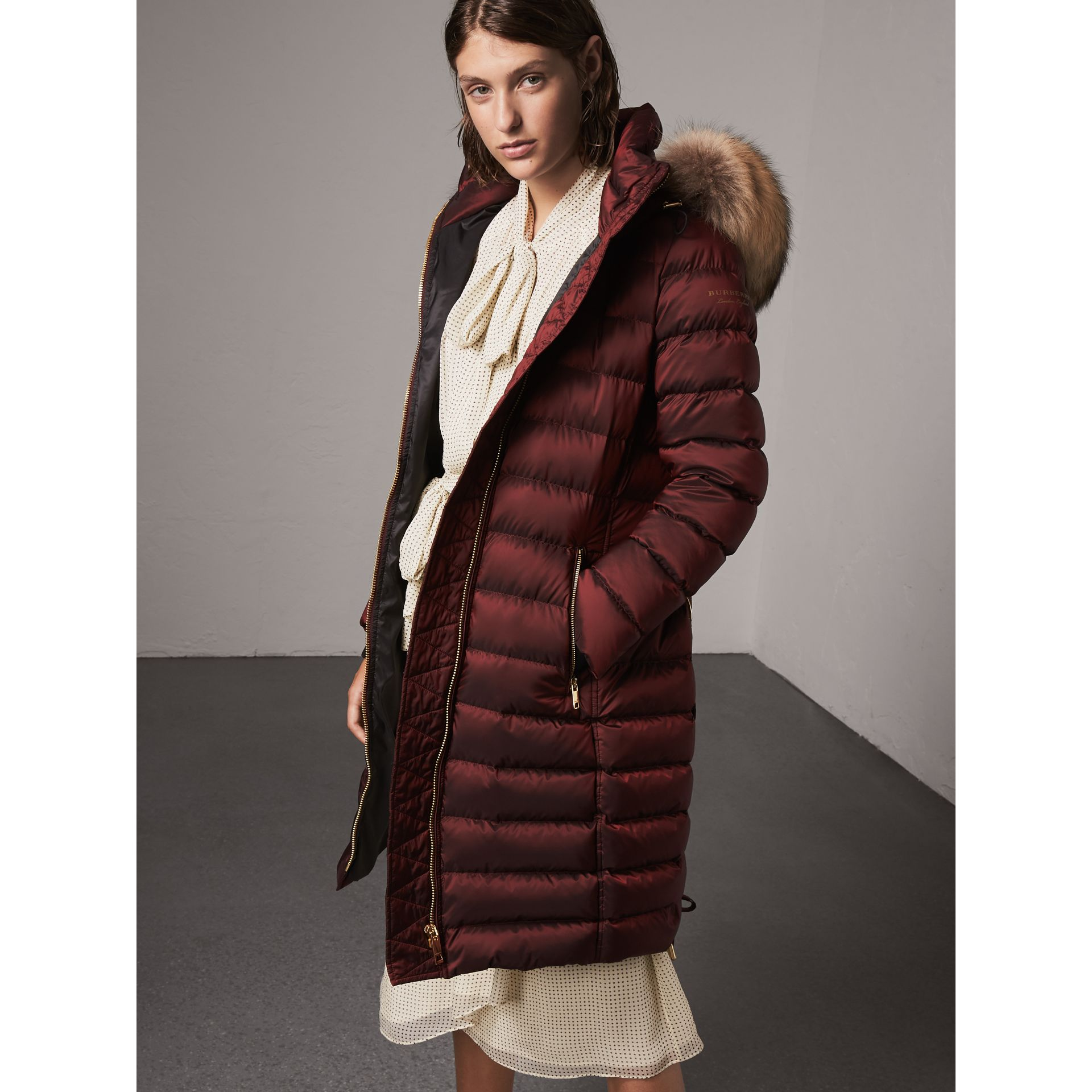 Detachable Fur Trim Down-filled Puffer Coat with Hood in Burgundy - Women | Burberry - gallery image 5