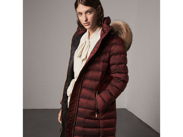 Detachable Fur Trim Down-filled Puffer Coat with Hood in Burgundy - Women | Burberry - cell image 4