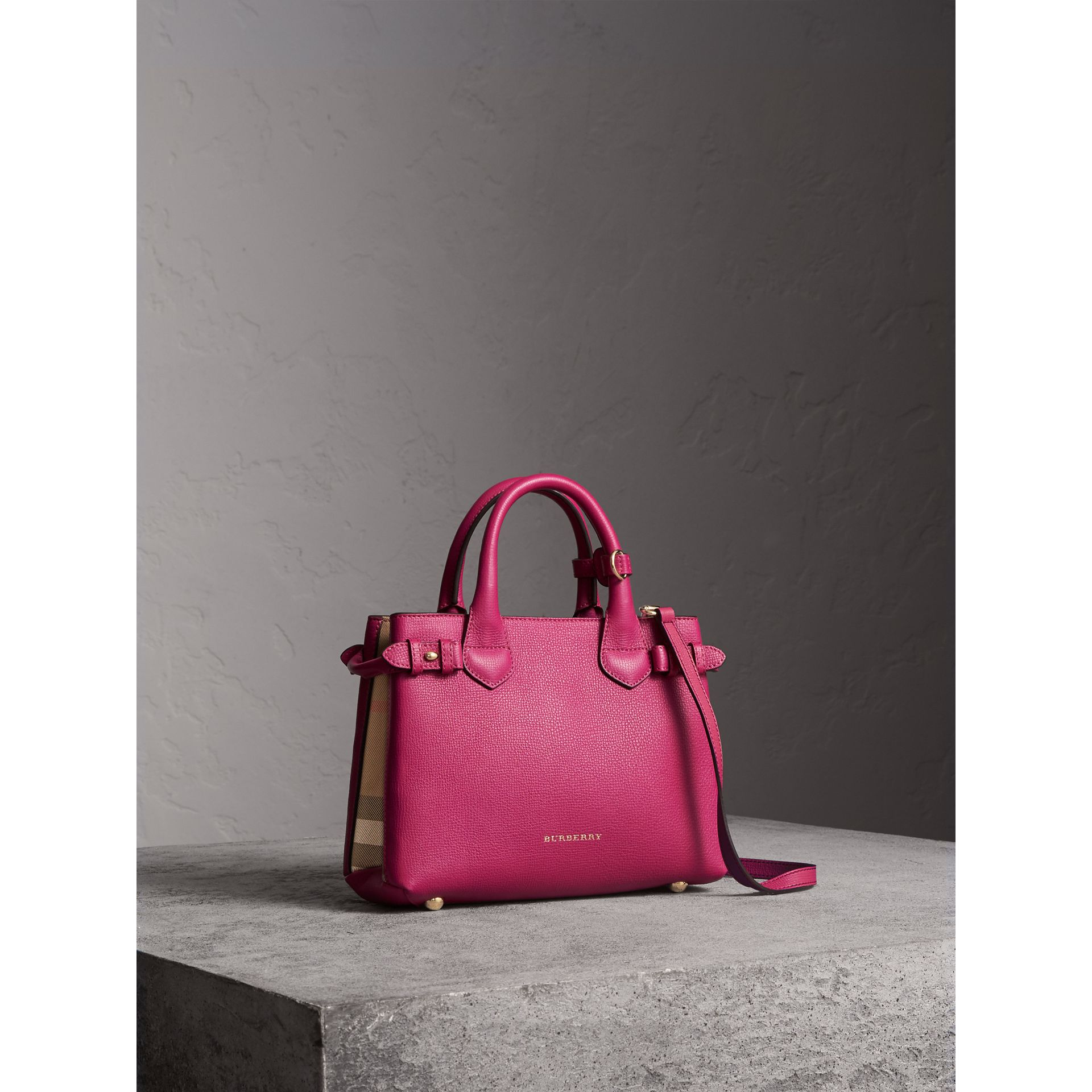 The Small Banner in Leather and House Check in Brilliant Fuchsia - Women | Burberry - gallery image 1