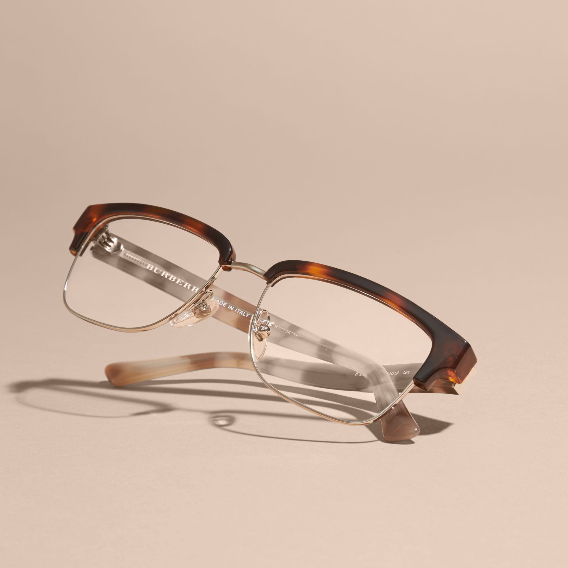 Half-rimmed Oval Optical Frames Light Russet Brown Burberry