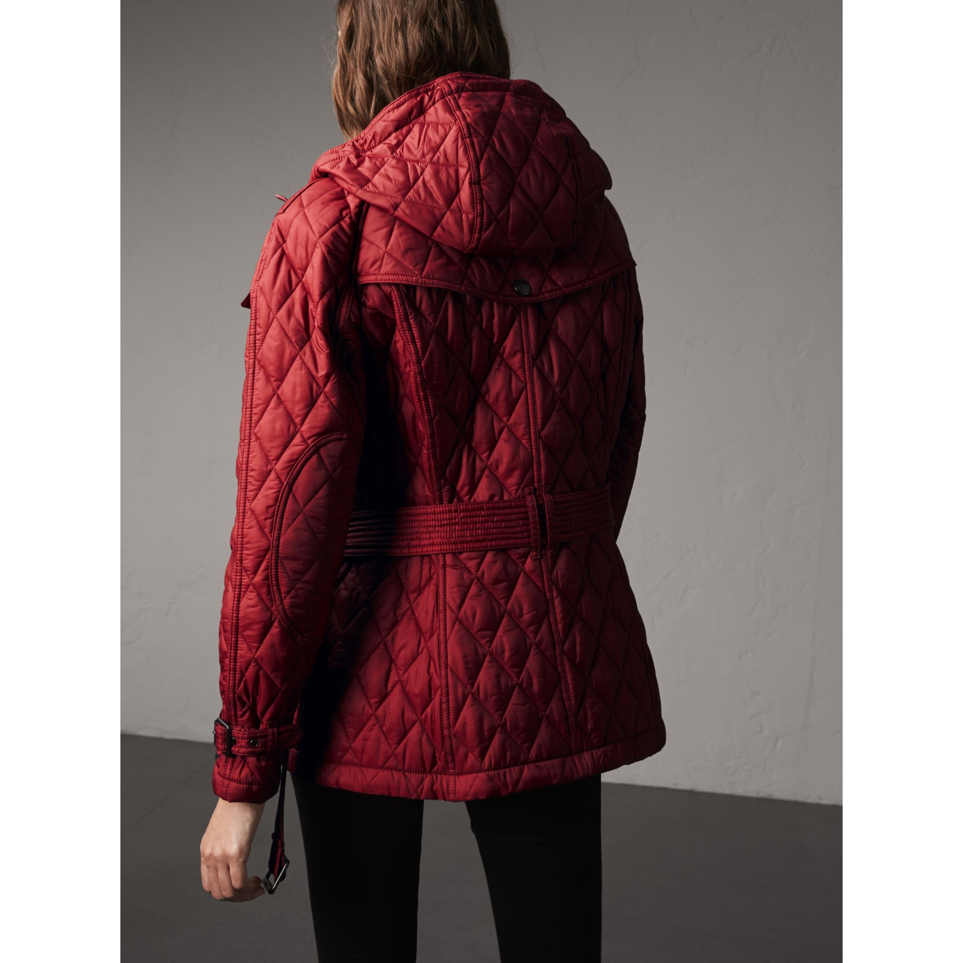 Quilted Trench Jacket with Detachable Hood in Dark Crimson - gallery image 3