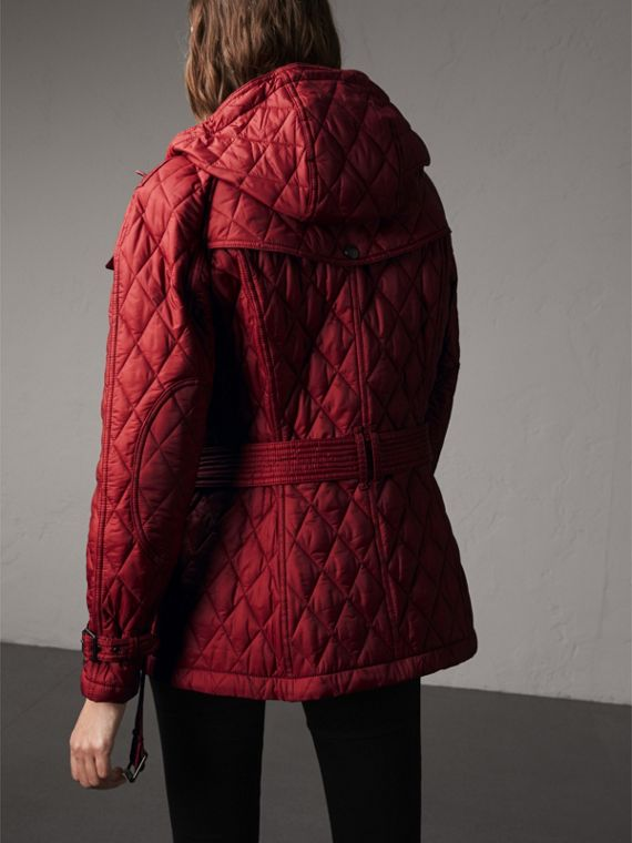 Quilted Trench Jacket with Detachable Hood in Dark Crimson - cell image 2