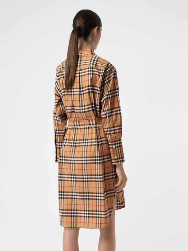Vintage Check Cotton Tie-waist Shirt Dress in Antique Yellow | Burberry Hong Kong - cell image 2