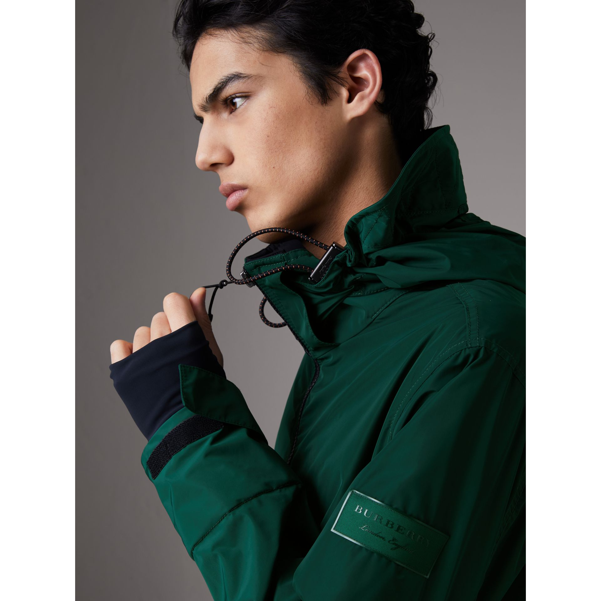 Packaway Hood Shape-memory Taffeta Jacket in Racing Green - Men | Burberry Australia - gallery image 1