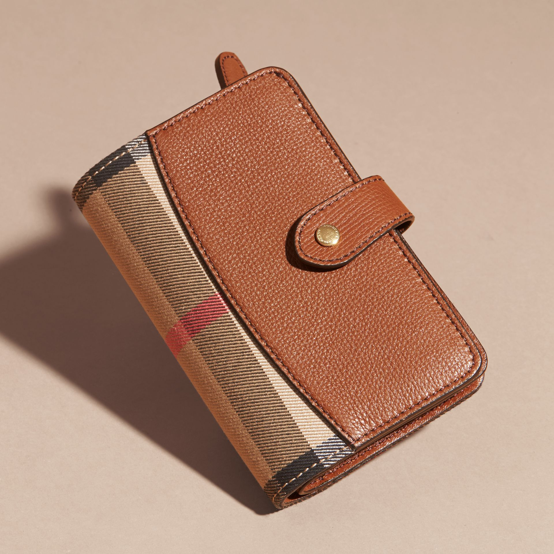 Tan House Check and Leather Wallet Tan - gallery image 6